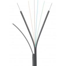Кабель NIKOLAN волоконно-оптический, 4 волокна, одномодовый 9/125мкм, стандарта OS2, FTTx, внутренний/внешний, с тросом, LSZH нг(B)-HFLTx, бухта 1000 м